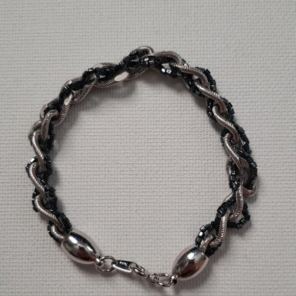 Jewelry - Braided Silver & Black Bracelet